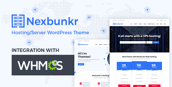 Nexbunker – Hosting/Server WordPress Theme + WHMCS